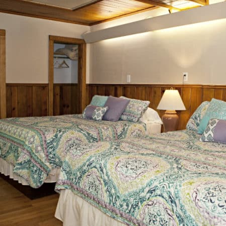 Guest room with wood floor, partial paneling, two beds with nightstand and lamp