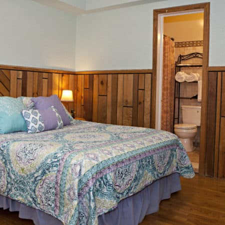 Guest room with wood floor, partial paneling, one bed, two nightstands, guest bath and closet