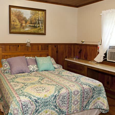 Guest room with wood floor, one bed, partial paneling, in-room sink and small window