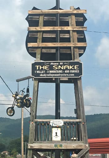 Large wood outdoor sign that says Home of the Snake, 1 valley, 3 mountains, 489 curves, shadyvalleycountrystore.com