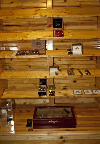 Wood shelves with different types of cigars